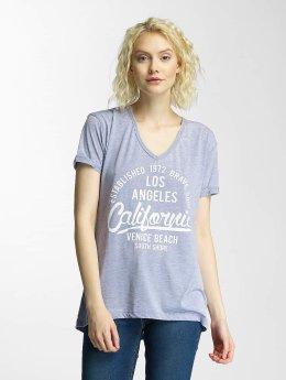 Brave Soul | Burn Out V-Neck bleu Femme T-Shirt