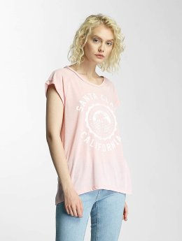 Brave Soul T-Shirt Burn Out Crew Neck rosa