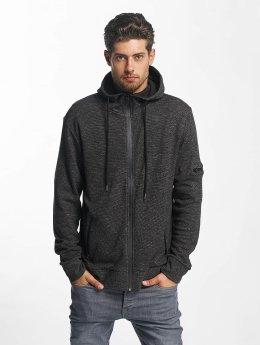 Brave Soul Zip Hoodie High Funnel Neck Through schwarz