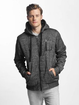 Brave Soul Zip Hoodie Through Sweat With Borg szary
