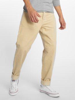 Carhartt WIP Menčestrové nohavice Newel Straight Fit béžová