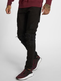 Cayler & Sons Straight Fit Jeans Alldd Paneled Inverted Biker Ian čern