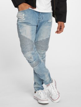 Cayler & Sons Straight Fit Jeans Biker Distressed blå