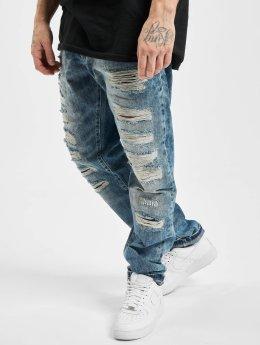 Cipo & Baxx Straight Fit Jeans Destroyed modrý
