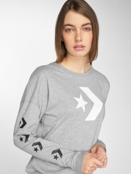 Converse Camiseta de manga larga Chevron gris