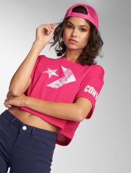 Converse T-Shirt Floral Fill Chevron Mesh Easy Crop magenta