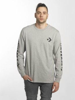 Converse T-Shirt manches longues Star Chevron Wordmark gris