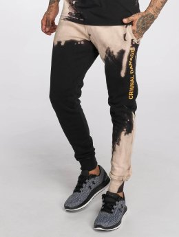 Criminal Damage Bleach Sweatpants Black/Tan