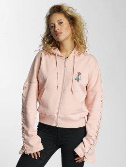 Criminal Damage Sweat capuche zippé Lacere rose