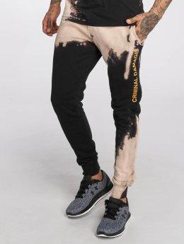 Criminal Damage Bleach Sweatpants Black/Tan