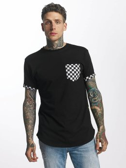 Criminal Damage T-skjorter Chequer Pocket svart