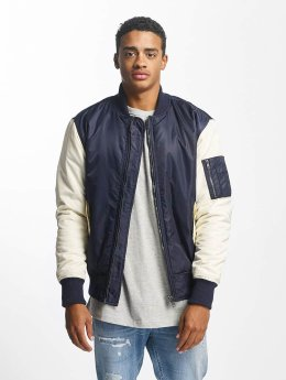 DEF Two Tone Bomber Jacket Navy/White