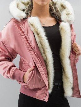 DEF Bomberjacke Fake Fur rosa