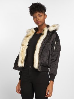DEF Fake Fur Bomber Jacket Black