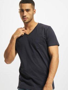 DEF T-Shirt V-Neck bleu