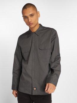 Dickies Longsleeve Slim Work Shirt Charcoal Grey