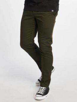 Dickies Látkové kalhoty Slim Fit Work olivový
