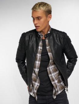 Jack & Jones Leather Jacket jcoRacer black