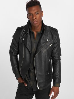 Jack & Jones Leather Jacket Jprmoment Biker black