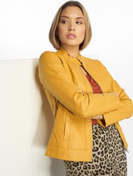 JACQUELINE de YONG Leather Jacket jdyDallas  yellow