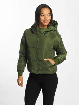 JACQUELINE de YONG Puffer Jacket jdyRocca Cropped Hoody grün