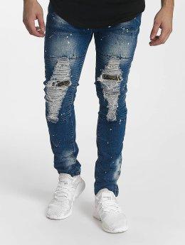 John H Slim Fit Jeans Diagonal Splatters blau