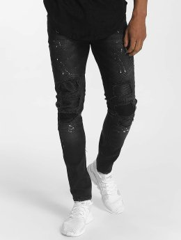 John H Slim Fit Jeans Diagonal Splatters schwarz