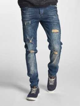 Just Rhyse Männer Straight Fit Jeans Destroyed in blau