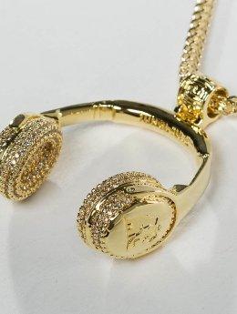 KING ICE Łańcuchy JUNGL JULZ Gold_Plated CZ Headphones zloty