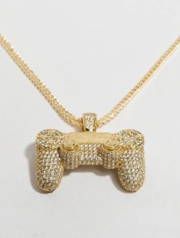 KING ICE Łańcuchy Gold_Plated CZ Pro Gamer Controller zloty