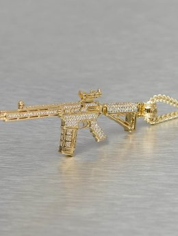 KING ICE ketting Gold_Plated CZ Studded M4 Long Range Assault Rifle goud