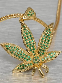 KING ICE Necklace Jungl Julz Weed Leaf gold