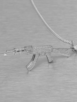 KING ICE Necklace Studded AK-47 silver colored