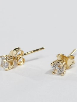 KING ICE Pendiente ICE Gold_Plated 4mm 925 Sterling_Silver CZ oro