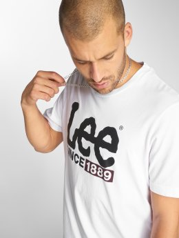 Lee T-Shirty 1889 Logo bialy