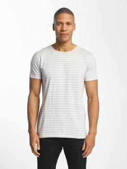 Lindbergh Striped Mouline T-Shirt Light Grey Mix