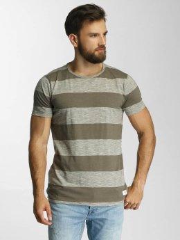 Lindbergh T-Shirt Uneven Stripes vert