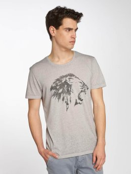Mavi Jeans T-Shirt Lion Embroidered grau