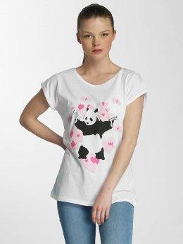 Merchcode t-shirt Ladies Banksy Panda Heart wit