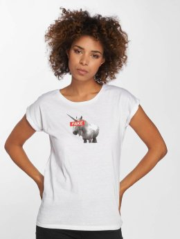 Mister Tee T-Shirt Fake Unicorn blanc