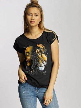 Mister Tee T-Shirt Ladies Bob Marley Lion Face noir