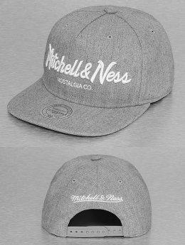 Mitchell & Ness Pinscript Snapback Cap Grey/White