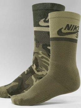 Nike SB Sokken Energy Crew Skateboarding 2-Pack olijfgroen