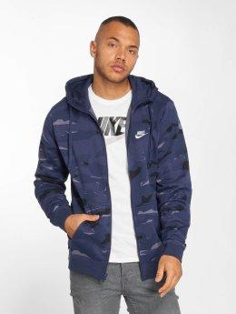 Nike Zip Hoodie Sportswear Club Camo Full blau