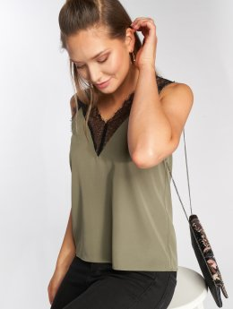 Noisy May Topssans manche nmLindsay Lace Insert Top olive
