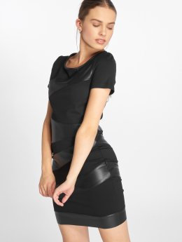Only Šaty onlMaria Faux Leather Mix čern