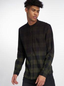 Only & Sons overhemd onsGudmund Dip Dye Mandarine olijfgroen