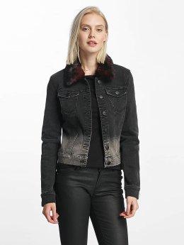 Only Veste Jean onlChris Fur Collar Denim noir