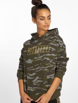 Puma Bluzy z kapturem Camo Cropped oliwkowy