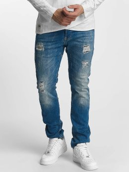 Red Bridge Straight Fit Jeans Ripped Patches modrý